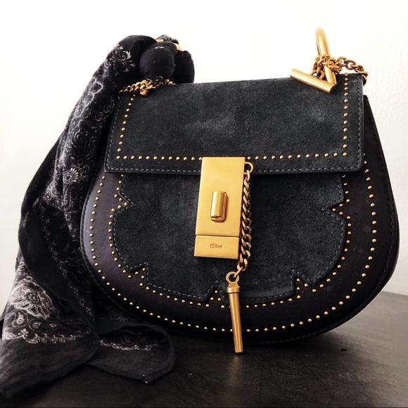 6a36a4b5473 Chloe Bags | Chlo Full Blue Suede Gold Chain Studded Faye Drew ...